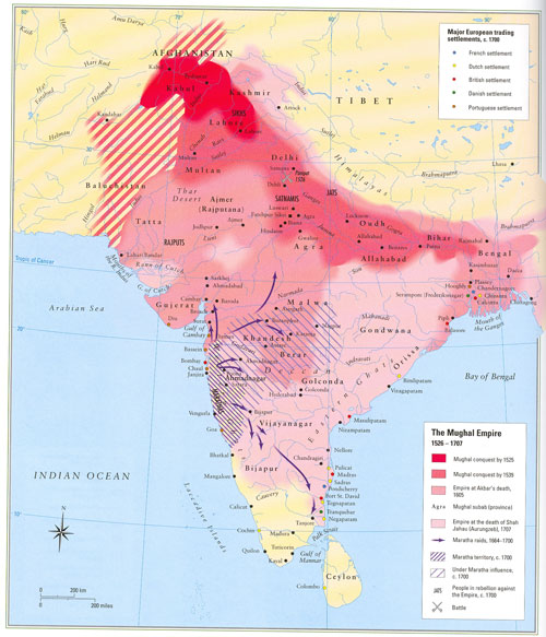 The Mughal empire at various stages © Malise Ruthven & Azim Nanji, Historical Atlas of Islam (Cambridge Massachusetts: Harvard University Press 2004)
