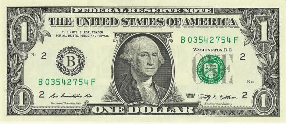 A present day $1 bill. Now you got a legal tender statement, and of course, no reference to gold or silver deposits.