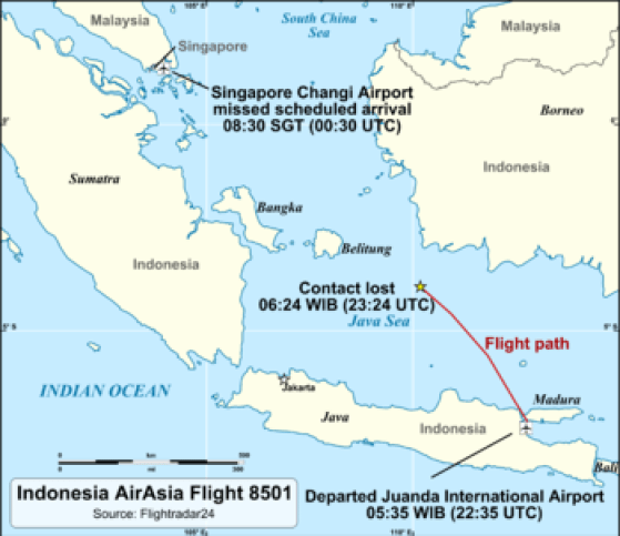 The Indonesian island of Belitung is right in the flight path.