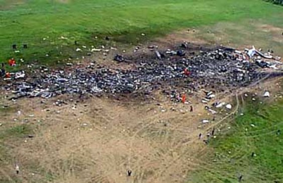 "This was exactly what happened to UAL Flight 93 on September 11th 2001. To quote, ""Jon Meyer, the first reporter on the scene, said he was ""able to get right up to the edge of the crater"" where Flight 93 supposedly hit the ground. However, he described: ""All I saw was a crater filled with small, charred plane parts. Nothing that would even tell you that it was the plane. ... There were no suitcases, no recognizable plane parts, no body parts."" [9] Local coroner Wallace Miller, who was also one of the first people to arrive, said the crater looked ""like someone took a scrap truck, dug a 10-foot ditch, and dumped all this trash into it."" """