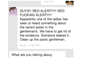 CBC repeatedly aired this  screenshot of a private message whistleblower Ryan Millet had recieved from the Gentlemen. It contains Ryan's name at the bottom because he had copy-pasted the original private message and forwarded it to one of the victims from his own account. Why didn't CBC edit out Ryan's name at the bottom? Were they trying to make him look like a perp?