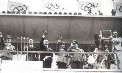 Hitler at 1936 Berlin Summer Olympics. World War II commenced the following month.
