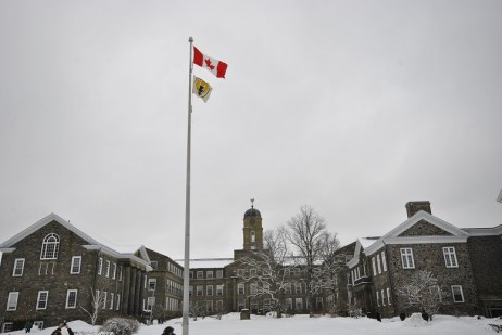 """...And put up the new """"Shellhousie"""" flag in front of the Dalhousie Administrative Building. The flag was of course, immediately taken down by Dal Security, but the point could not have been better made."""