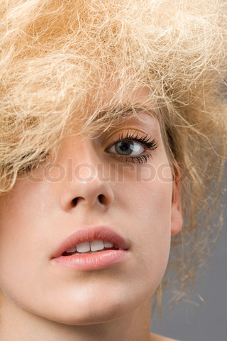 Woman with frizzy hair