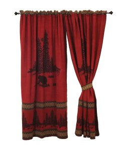 Wooded Bear Red Curtains Set