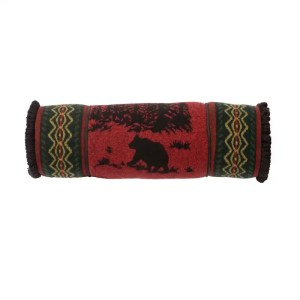 wooded bear roll pillow