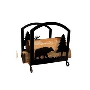 cabin firewood log rack