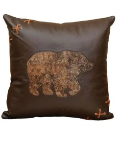 Brown Bear Leather Pillow