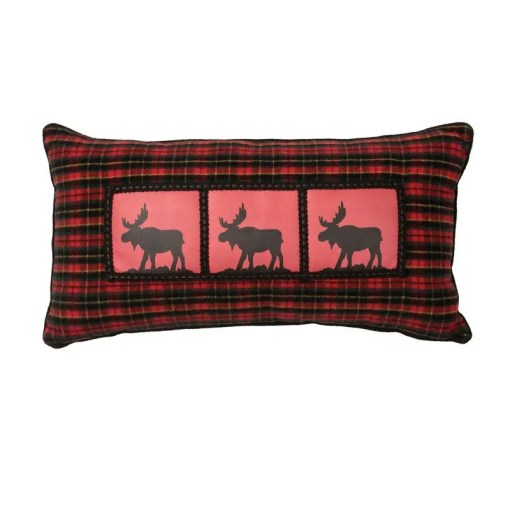 McWoods Moose Red Plaid Pillow