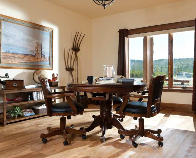 elegant all wooden library and working area
