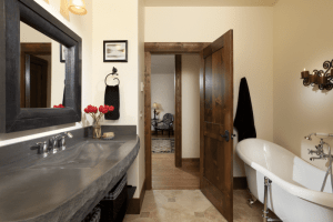 rooms gallery bathroom in Ebony Suite with luxury sink and soaker tub