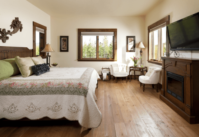 rooms gallery, Sonoma Suite on a hard wood floor and wooden electric fireplace wedding services