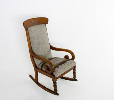Antique Rocker reupholstered in Cable and Blake Herdwick fabric