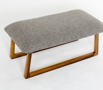 Herdwick upholstered footstool with walnut base