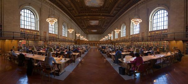 A panorama of a research room taken at the New York Public Library