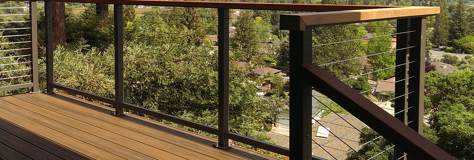 Exterior And Interior Cable Railing Cable Handrail Cable Rail | Cable Stair Railing Indoor | Exterior Irregular Stair | Vertical | Wood | 90 Degree Stair | Stainless
