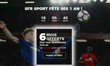 6 mois offerts pour tout abonnement d'un 1 an à SFR Sport 100% Digital