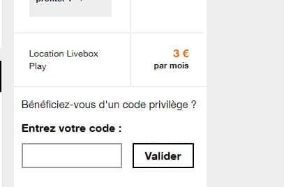 vente privée box : formulaire code orange