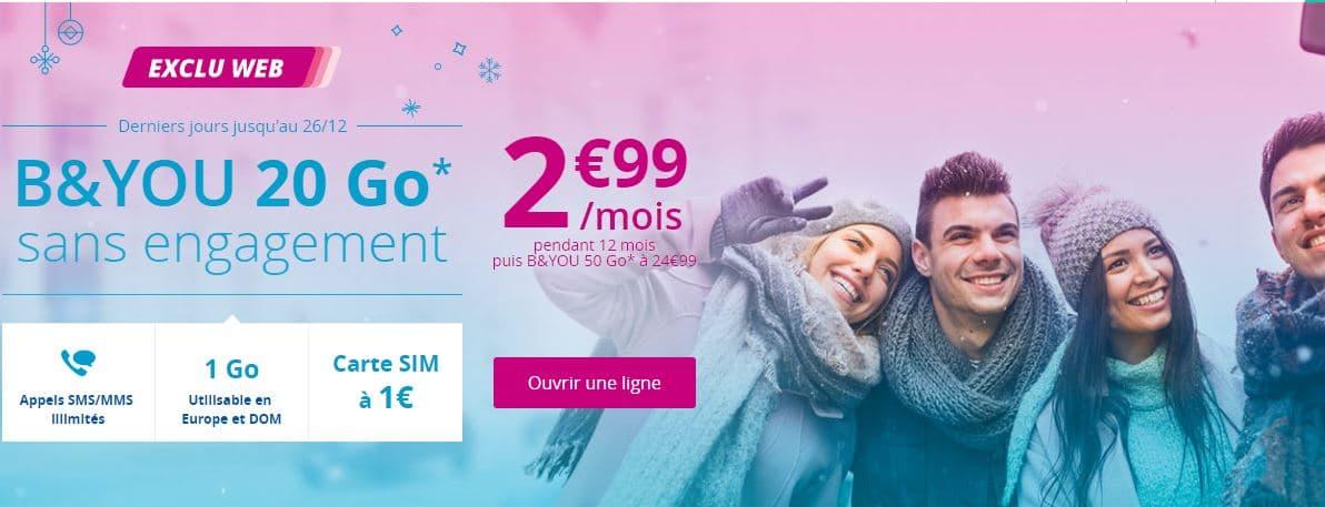 [Prolongation] Le forfait B&You 20Go à 2.99€/mois se termine ce soir !