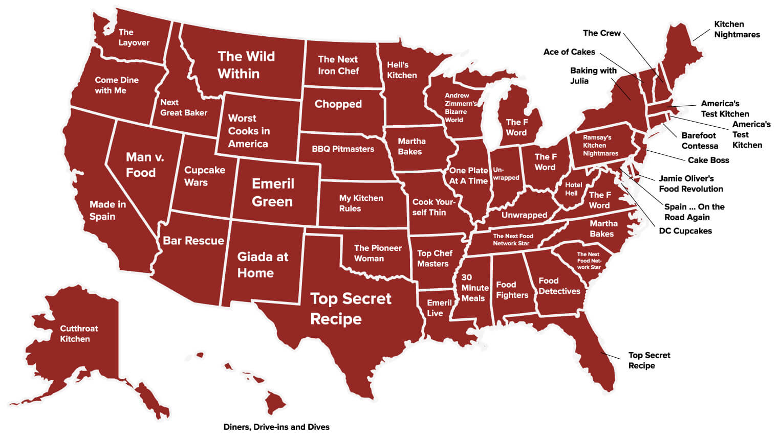 Your State S Favorite Food Cooking Show Map