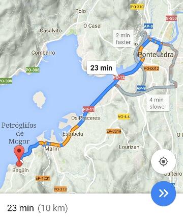 Ruta de chegada aos Petróglifos de Mogor desde Pontevedra