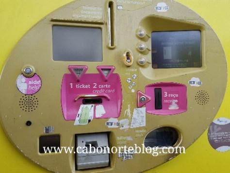 Máquina de pago de peaje en Francia