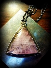 1-Lavender Quartz and Tourmaline Triangle Pendant 06