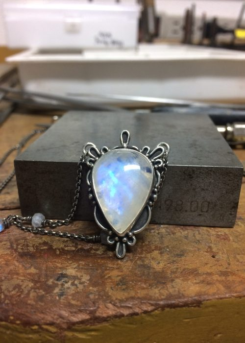 Art Deco Rainbow Moonstone Necklace