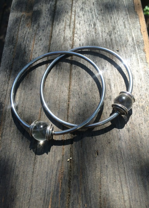 Large Clear Quartz Captive Hoop Earrings
