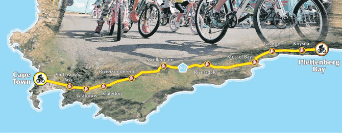 Cape Town to Plettenberg Bay cycle route