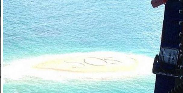 Perdidos en el mar, escribieron un SOS gigante y se salvaron