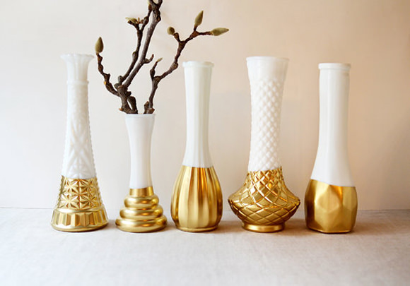 Ombre Decor Dip Dye Paint Dipped Vases Gold and White Vases with Branches
