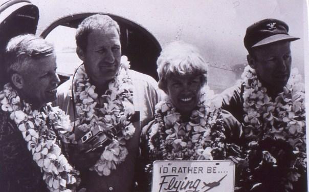 Pictured left to right: Bill Polhemus (Navigator), Bill Payne (Co-Pilot), Ann Pellegreno (Pilot), Lee Koepke (Restorer and Own of Lockheed N79237)