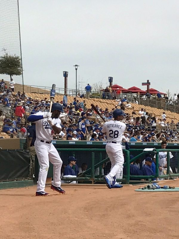 Yasiel Puig of the Dodgers in the on deck circle during Spring Training at Camelback Ranch (Kristen Dolan)