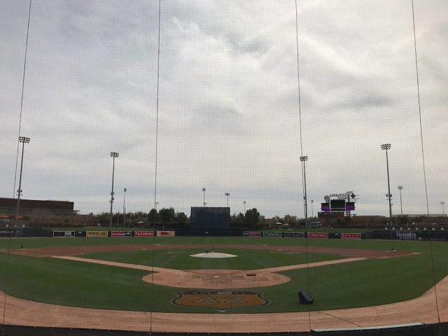 The field at Camelback Ranch about about an hour before game time