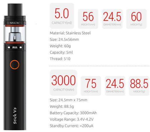 SMOK STICK V8 STARTER KIT DETAILS