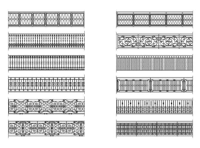 Free Wrought Iron Railings 1 - Free CAD Download Site