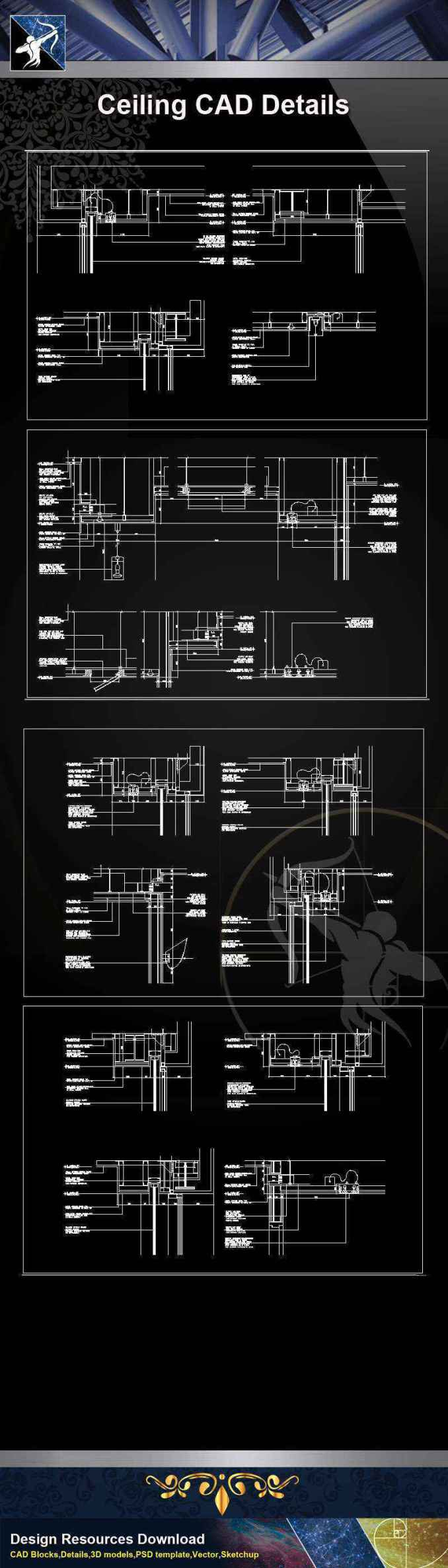 【Architecture CAD Details Collections】Ceiling Design CAD Details V.2