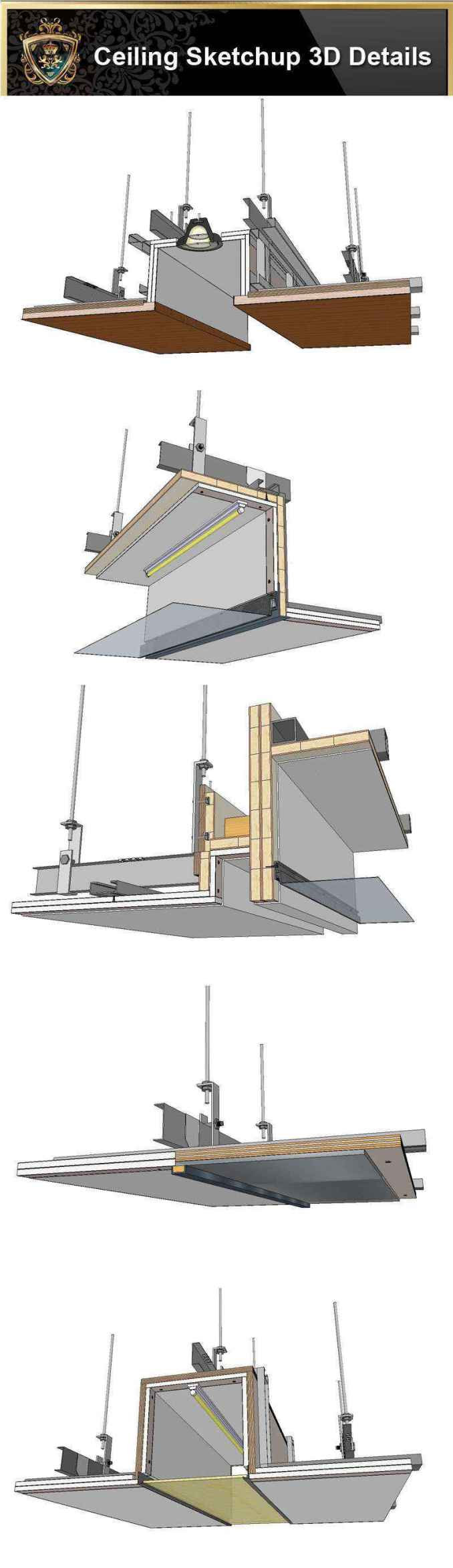 【Best 70 Types Ceiling Sketchup 3D Detail Models】 (★Recommanded★)