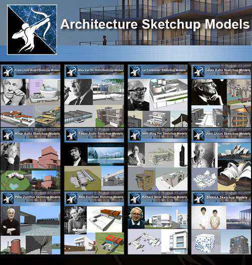 ★Total 107 Pritzker Architecture Sketchup 3D Models★ (Best Recommanded!!) -  Free CAD Download Site-Autocad Drawings,Blocks
