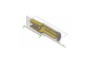 Ejemplo de como realizar una seccion de un objeto 3D con el comando SECTIONPLANEJOG. donde (1), (2),(3) y (4) es el trayecto marcado para realizar la sección cortada.