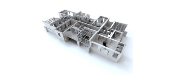 White residential complex structure