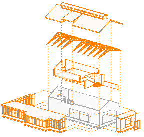 An exploded Revit 3D view