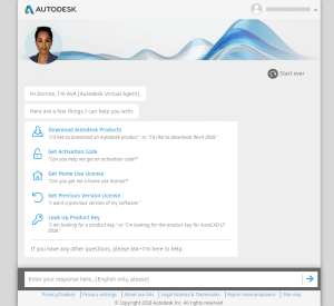 Autodesk Virtual Agent Entry Screen