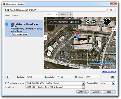 Specifying geographic locations for drawings inside AutoCAD 2014