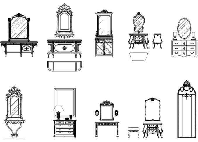 Furniture blocks-mirror