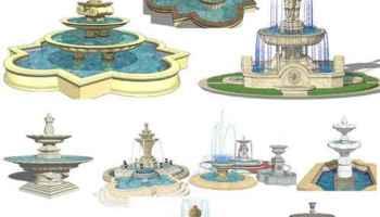European Fountain & Waterfall Landscape-Sketchup 3D Models(Best