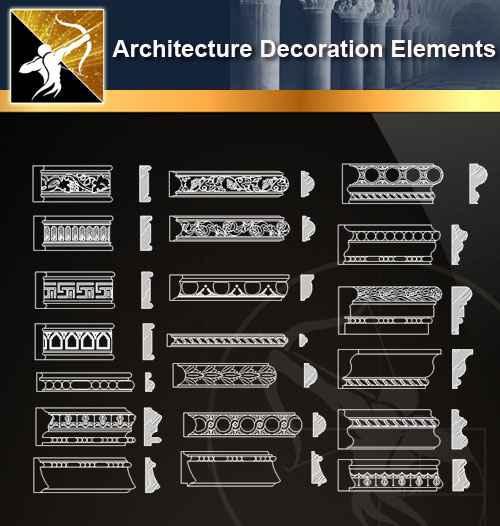 ★【 Free Architecture Decoration Elements V.8】@Autocad Decoration Blocks,Drawings,CAD Details,Elevation
