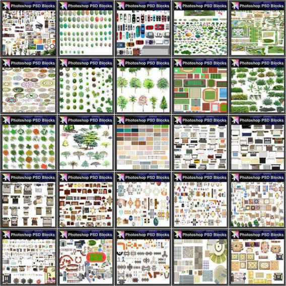 "★Over 20000+ Interior Design Photoshop PSD Blocks Bundle (Total 2.2GB PSD Files -Best Recommanded!!) In this Photoshop ""PSD"" blocks bundle, we have presented a collection of furniture,landscape,tree,cars blocks in plan view (and some in elevation view) for architectural plans with Photoshop software. Photoshop  ""PSD"" blocks can be used in architectural plans rendering, interior design and landscape design. The ""PSD"" file format is multi-layered and can be used easily. Note: ""PSD"" file resolution is higher than pictures"