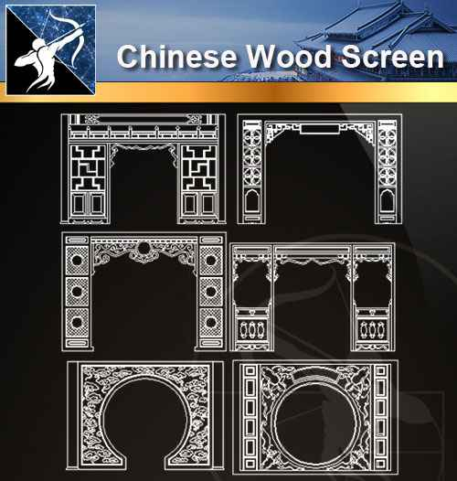 ★【 Chinese Wood Screen CAD Drawings】@Autocad Blocks,Drawings,CAD Details,Elevation